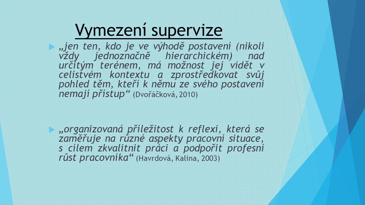 """Vymezení supervize  """"jen ten, kdo je ve výhodě postavení (nikoli vždy jednoznačně hierarchickém) nad určitým terénem, má možnost jej vidět v celistvé"""