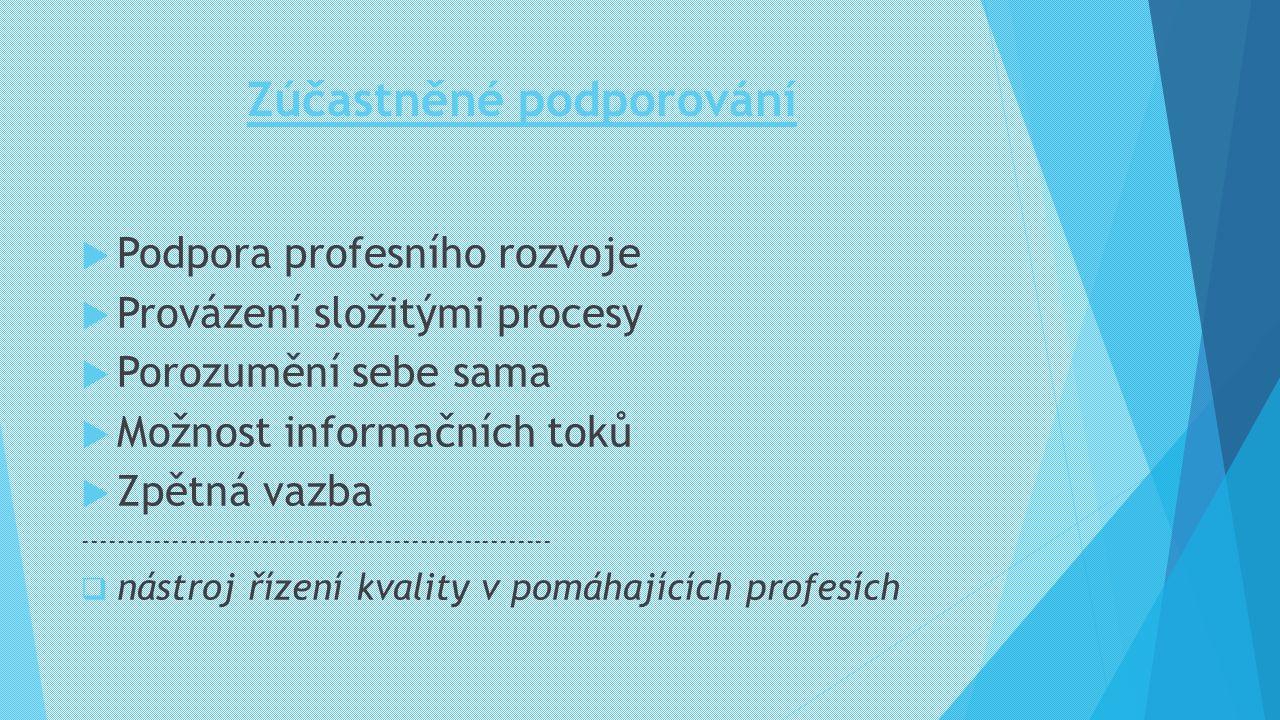Zúčastněné podporování  Podpora profesního rozvoje  Provázení složitými procesy  Porozumění sebe sama  Možnost informačních toků  Zpětná vazba --
