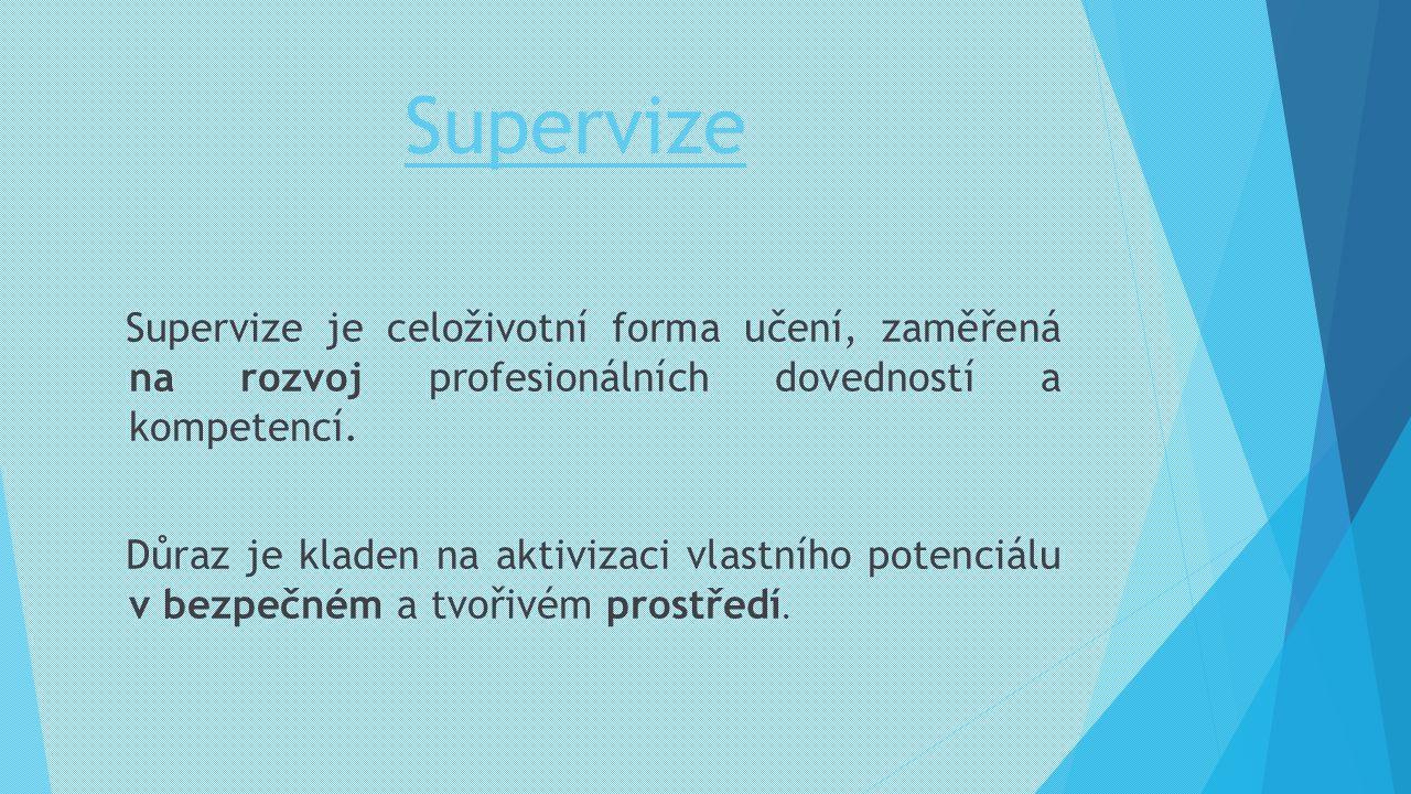 Supervize Supervize je celoživotní forma učení, zaměřená na rozvoj profesionálních dovedností a kompetencí. Důraz je kladen na aktivizaci vlastního po