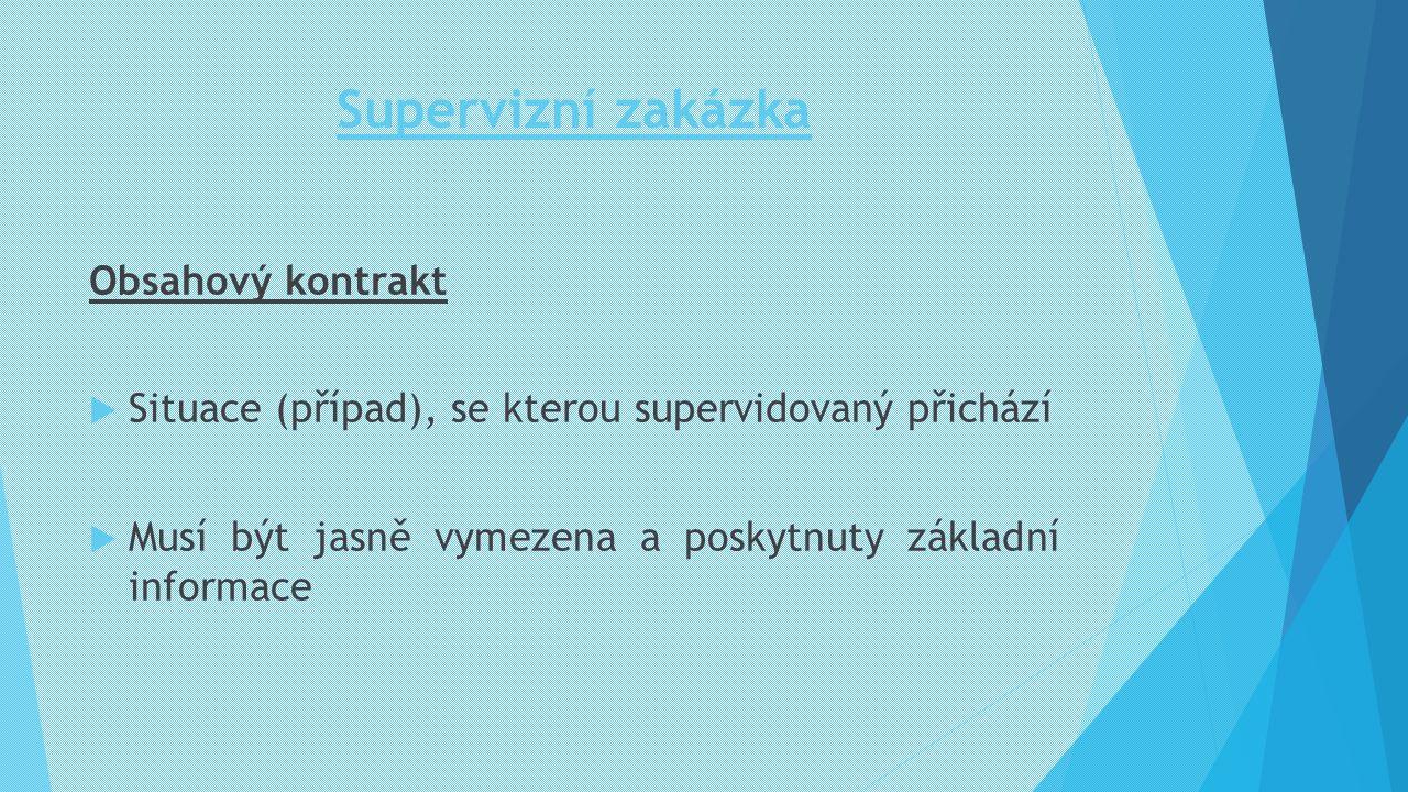 Supervizní zakázka Obsahový kontrakt  Situace (případ), se kterou supervidovaný přichází  Musí být jasně vymezena a poskytnuty základní informace