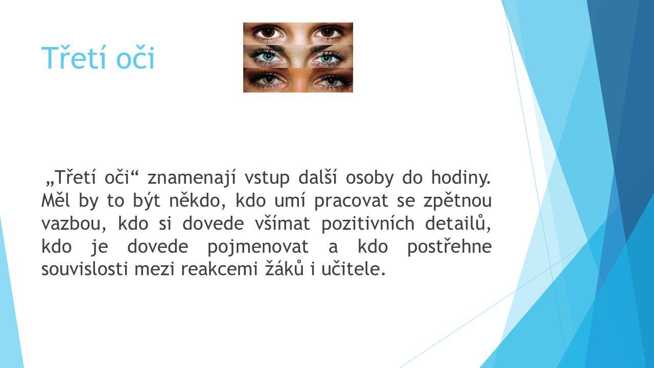"""Třetí oči """"Třetí oči"""" znamenají vstup další osoby do hodiny. Měl by to být někdo, kdo umí pracovat se zpětnou vazbou, kdo si dovede všímat pozitivních"""