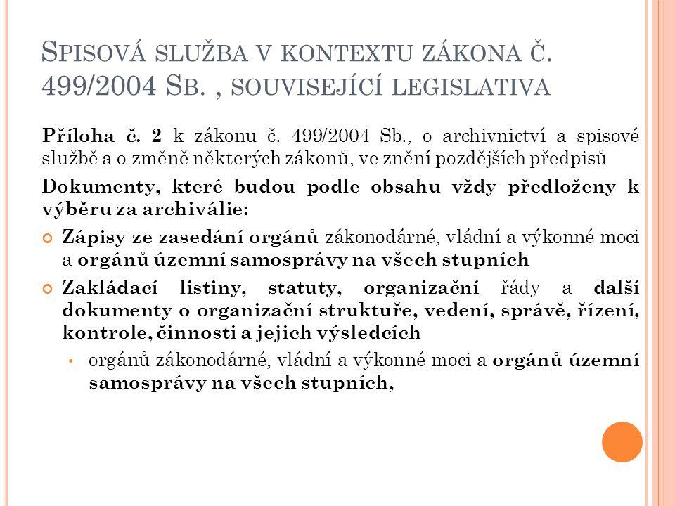 S PISOVÁ SLUŽBA V KONTEXTU ZÁKONA Č. 499/2004 S B., SOUVISEJÍCÍ LEGISLATIVA Příloha č. 2 k zákonu č. 499/2004 Sb., o archivnictví a spisové službě a o
