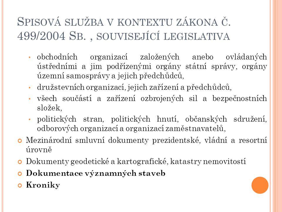 S PISOVÁ SLUŽBA V KONTEXTU ZÁKONA Č. 499/2004 S B., SOUVISEJÍCÍ LEGISLATIVA obchodních organizací založených anebo ovládaných ústředními a jim podříze