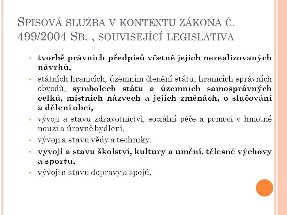 S PISOVÁ SLUŽBA V KONTEXTU ZÁKONA Č. 499/2004 S B., SOUVISEJÍCÍ LEGISLATIVA tvorbě právních předpisů včetně jejich nerealizovaných návrhů, státních hr