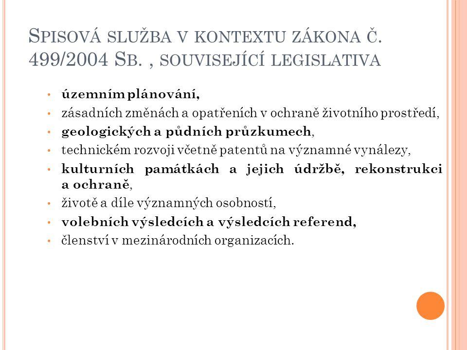 S PISOVÁ SLUŽBA V KONTEXTU ZÁKONA Č. 499/2004 S B., SOUVISEJÍCÍ LEGISLATIVA územním plánování, zásadních změnách a opatřeních v ochraně životního pros