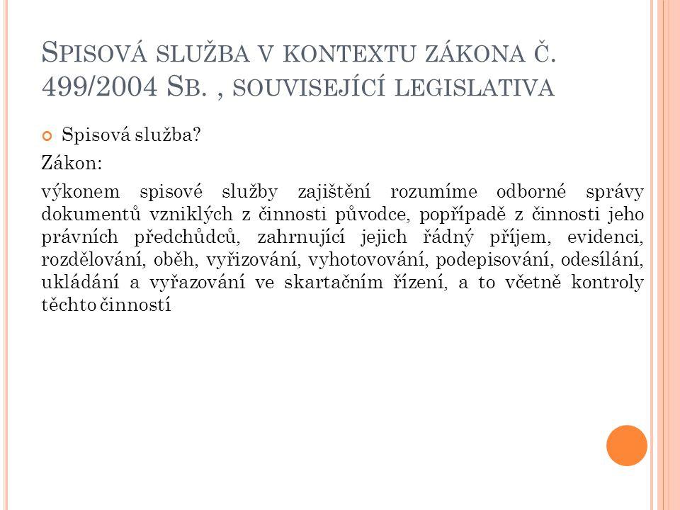 S PISOVÁ SLUŽBA V KONTEXTU ZÁKONA Č.499/2004 S B., SOUVISEJÍCÍ LEGISLATIVA Spisová služba.