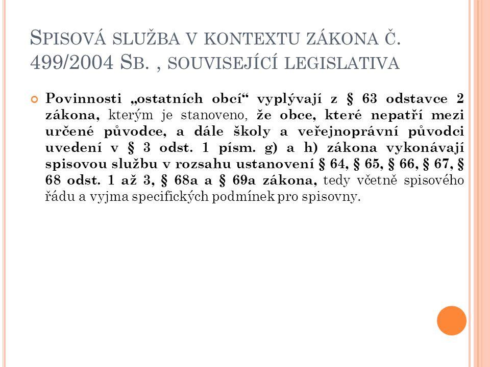 """S PISOVÁ SLUŽBA V KONTEXTU ZÁKONA Č. 499/2004 S B., SOUVISEJÍCÍ LEGISLATIVA Povinnosti """"ostatních obcí"""" vyplývají z § 63 odstavce 2 zákona, kterým je"""