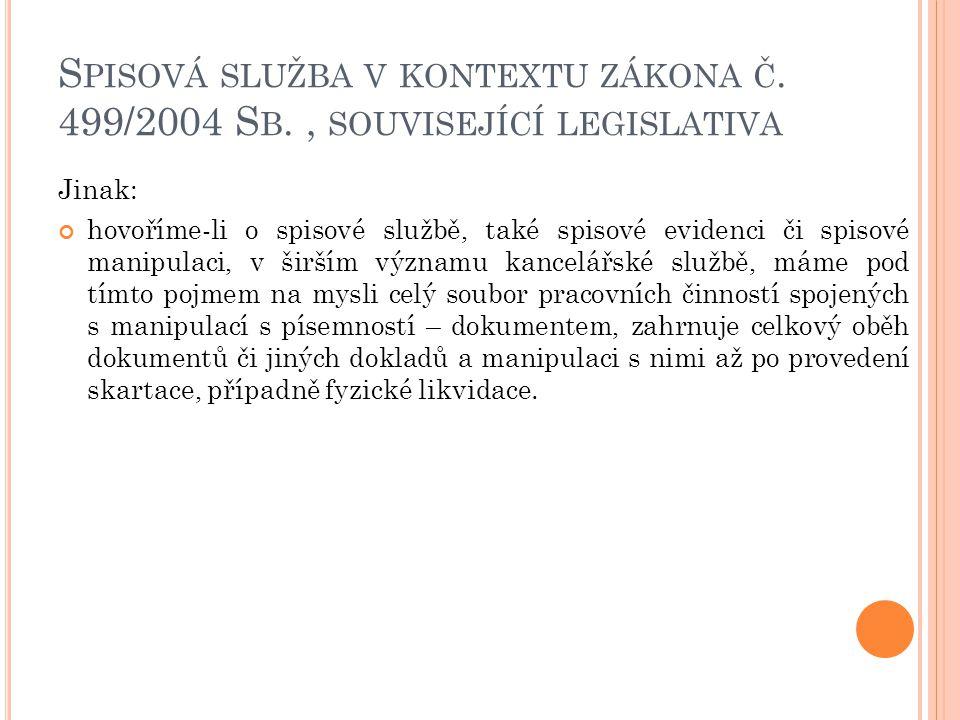 S PISOVÁ SLUŽBA V KONTEXTU ZÁKONA Č. 499/2004 S B., SOUVISEJÍCÍ LEGISLATIVA Jinak: hovoříme-li o spisové službě, také spisové evidenci či spisové mani