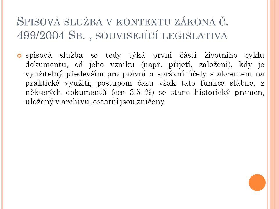 S PISOVÁ SLUŽBA V KONTEXTU ZÁKONA Č. 499/2004 S B., SOUVISEJÍCÍ LEGISLATIVA spisová služba se tedy týká první části životního cyklu dokumentu, od jeho