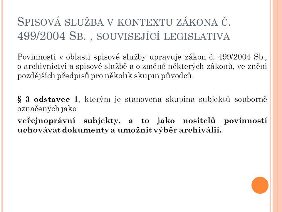 S PISOVÁ SLUŽBA V KONTEXTU ZÁKONA Č. 499/2004 S B., SOUVISEJÍCÍ LEGISLATIVA Povinnosti v oblasti spisové služby upravuje zákon č. 499/2004 Sb., o arch