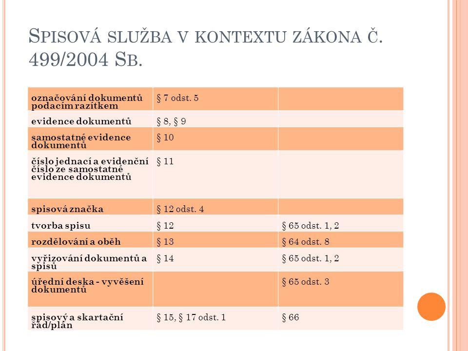 S PISOVÁ SLUŽBA V KONTEXTU ZÁKONA Č. 499/2004 S B. označování dokumentů podacím razítkem § 7 odst. 5 evidence dokumentů § 8, § 9 samostatné evidence d
