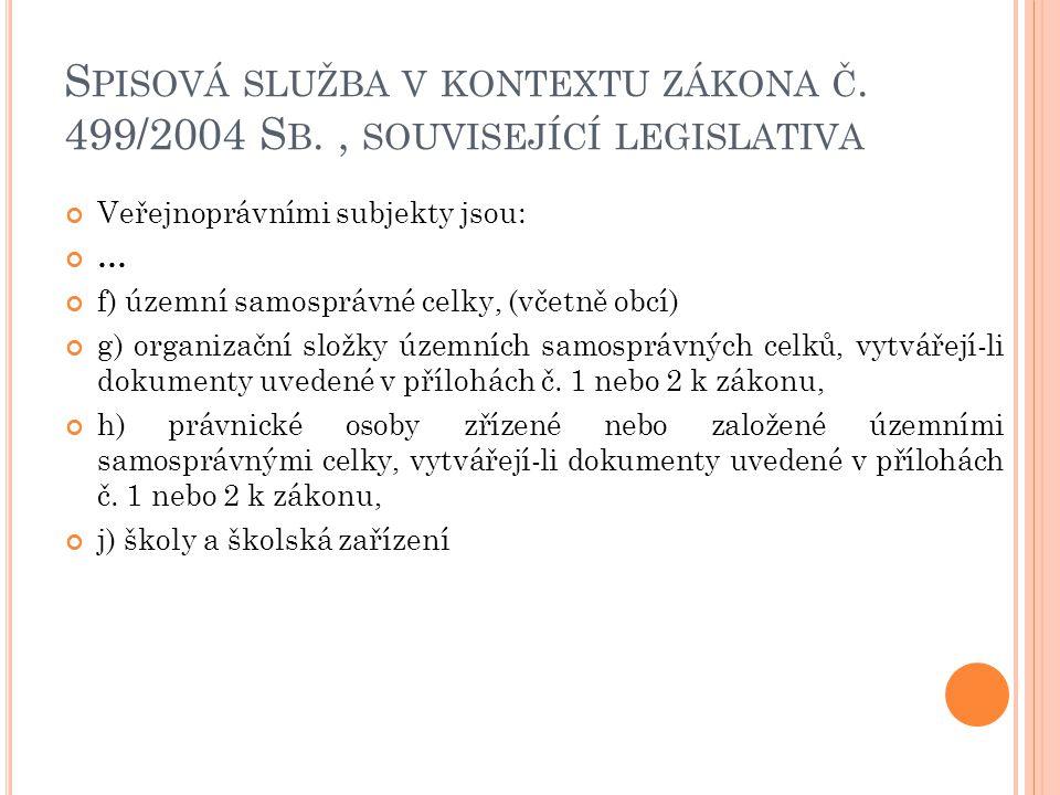 S PISOVÁ SLUŽBA V KONTEXTU ZÁKONA Č. 499/2004 S B., SOUVISEJÍCÍ LEGISLATIVA Veřejnoprávními subjekty jsou: … f) územní samosprávné celky, (včetně obcí
