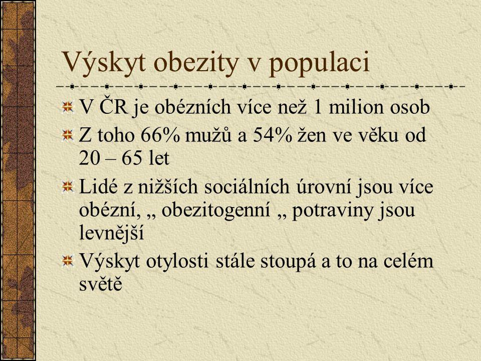 """Výskyt obezity v populaci V ČR je obézních více než 1 milion osob Z toho 66% mužů a 54% žen ve věku od 20 – 65 let Lidé z nižších sociálních úrovní jsou více obézní, """" obezitogenní """" potraviny jsou levnější Výskyt otylosti stále stoupá a to na celém světě"""