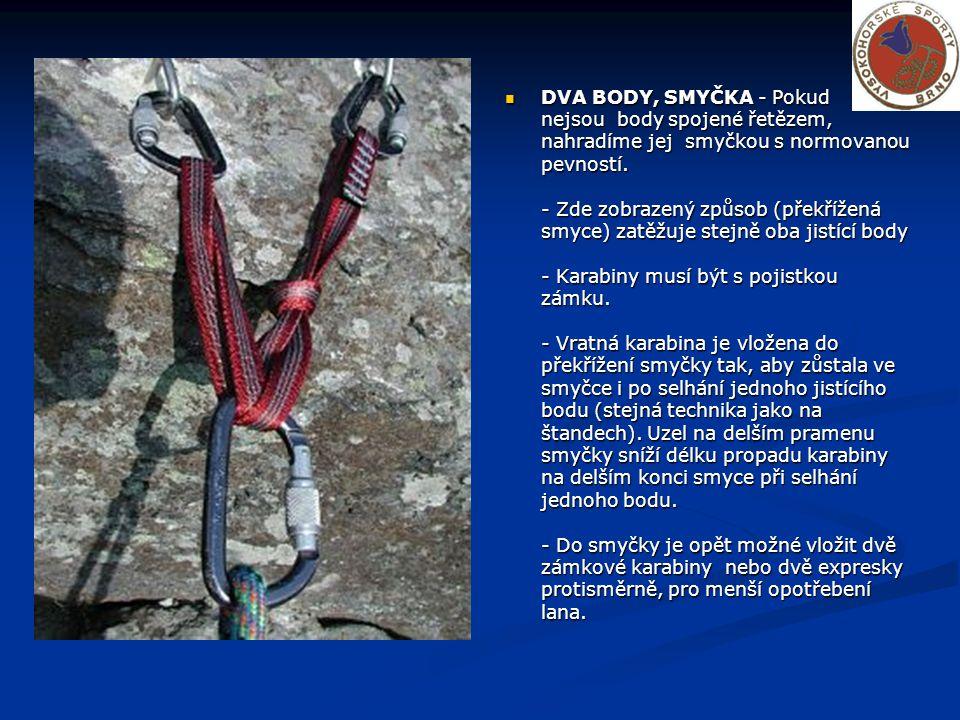 DVA BODY, SMYČKA - Pokud nejsou body spojené řetězem, nahradíme jej smyčkou s normovanou pevností.