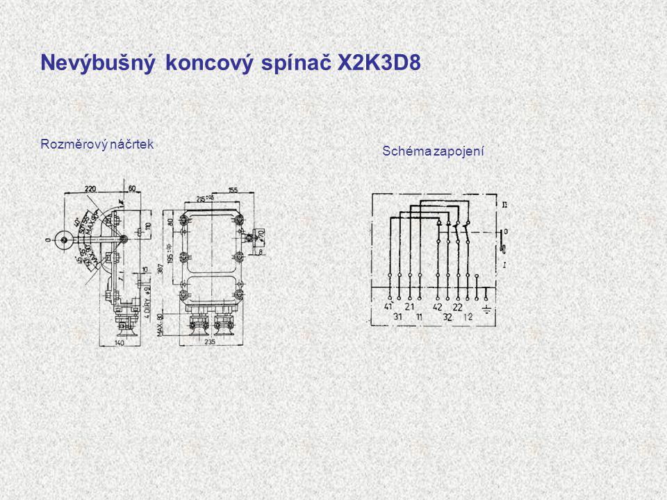 Nevýbušný koncový spínač X2K3D8 Rozměrový náčrtek Schéma zapojení