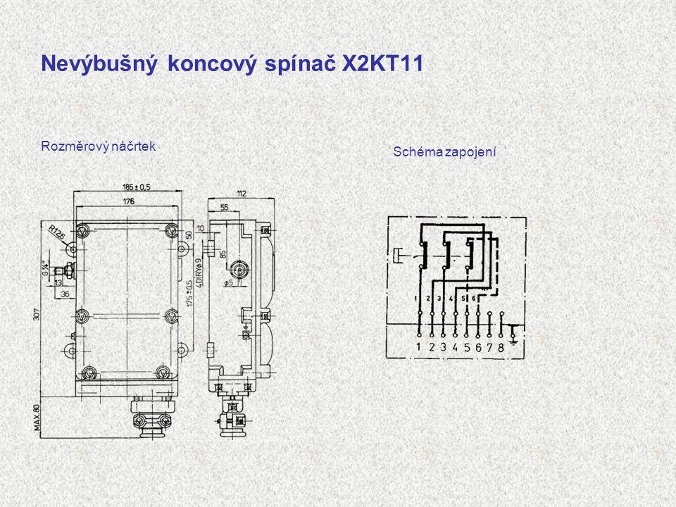 Nevýbušný koncový spínač X2KT11 Rozměrový náčrtek Schéma zapojení