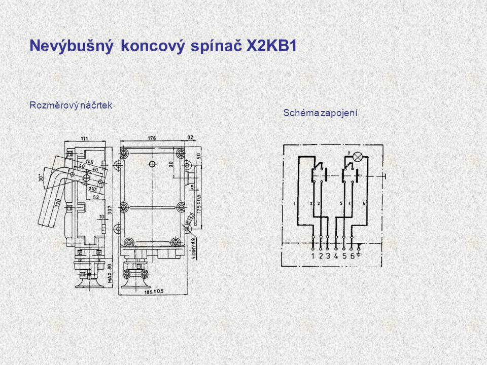 Nevýbušný koncový spínač X2KB1 Rozměrový náčrtek Schéma zapojení
