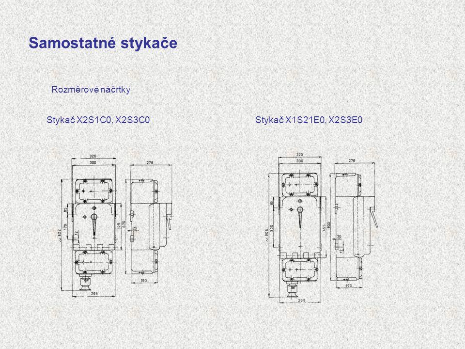 Samostatné stykače Rozměrové náčrtky Stykač X2S1C0, X2S3C0Stykač X1S21E0, X2S3E0