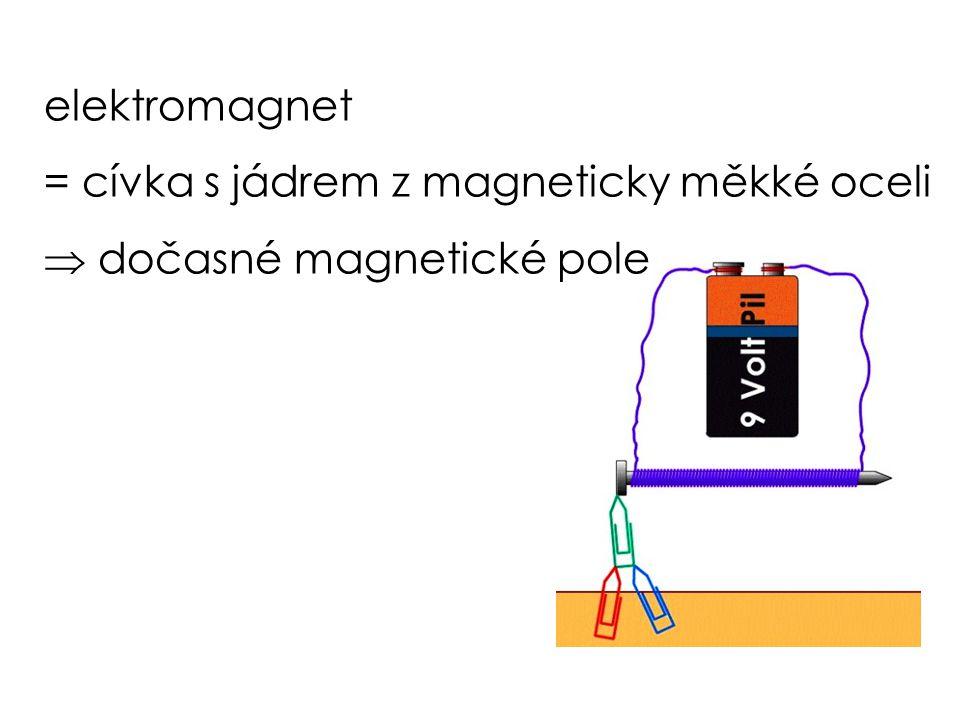 elektromagnet = cívka s jádrem z magneticky měkké oceli  dočasné magnetické pole