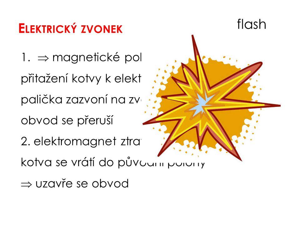 E LEKTRICKÝ ZVONEK flash 1.  magnetické pole přitažení kotvy k elektromagnetu palička zazvoní na zvonek obvod se přeruší 2. elektromagnet ztratí své