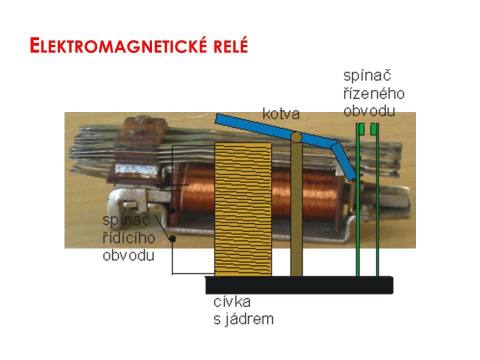 = elektromagnet + 1 nebo několik kontaktů 1.cívkou prochází proud, kotva se přitáhne k jádru a spojí (rozpojí) kontakty 2.