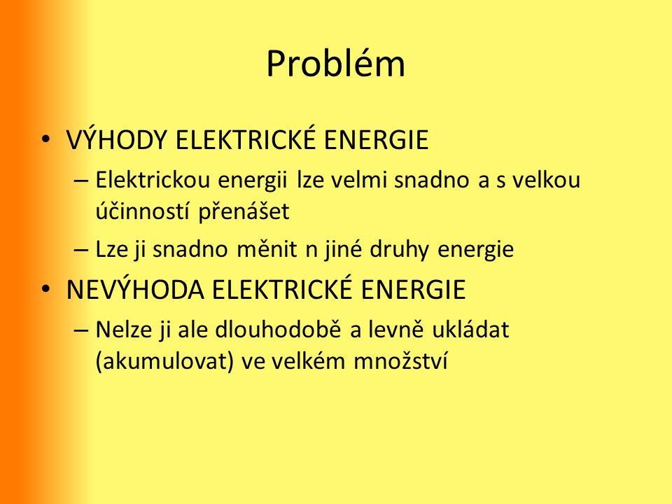 Problém VÝHODY ELEKTRICKÉ ENERGIE – Elektrickou energii lze velmi snadno a s velkou účinností přenášet – Lze ji snadno měnit n jiné druhy energie NEVÝ