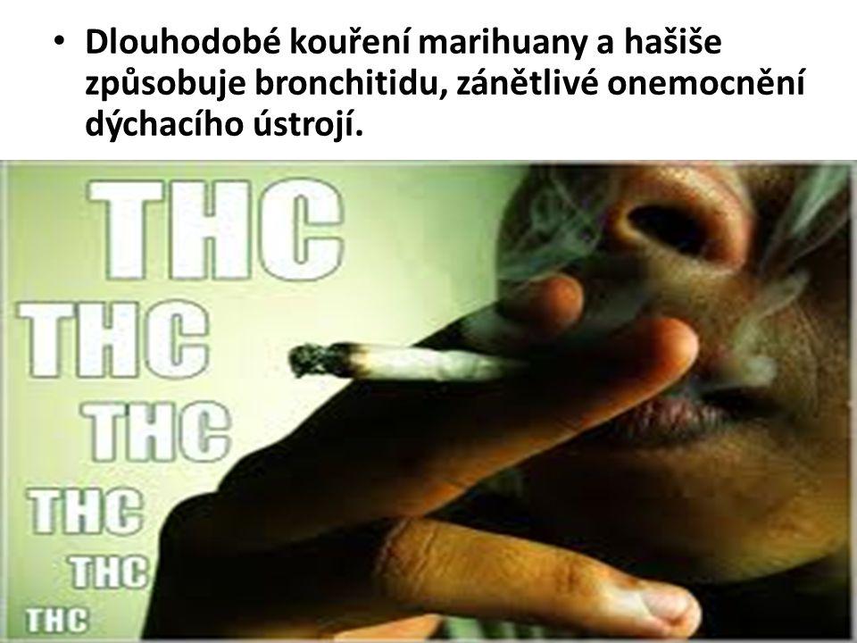 Dlouhodobé kouření marihuany a hašiše způsobuje bronchitidu, zánětlivé onemocnění dýchacího ústrojí.