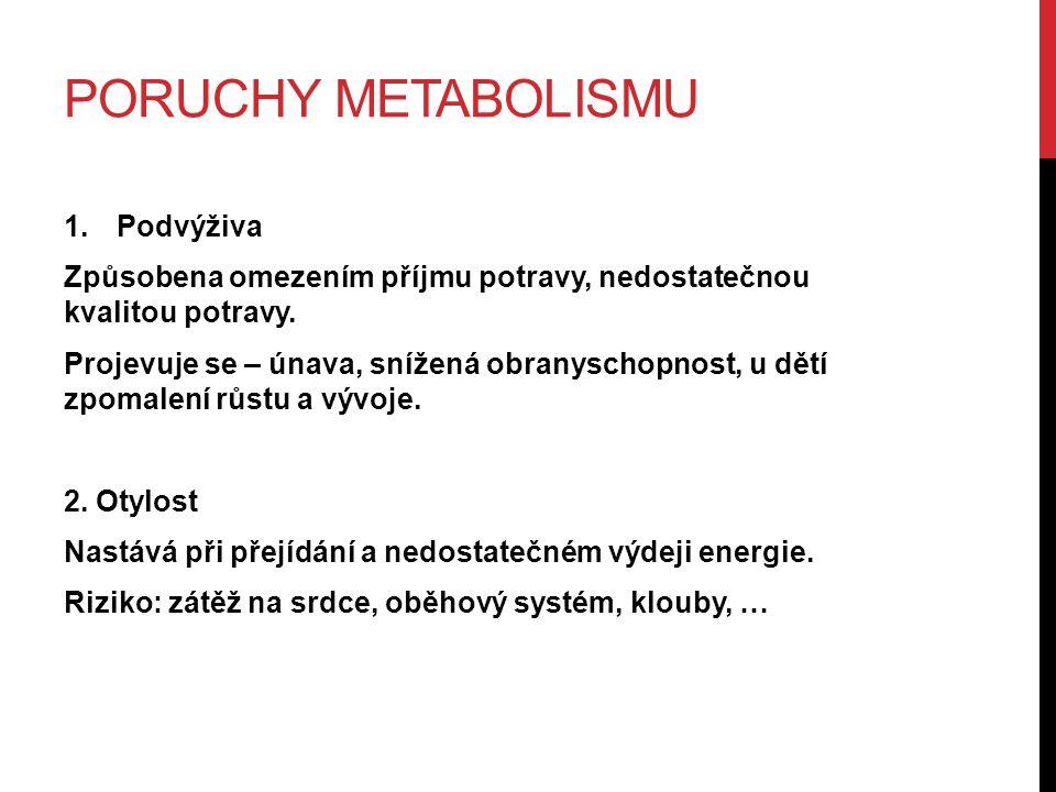 PORUCHY METABOLISMU 1.Podvýživa Způsobena omezením příjmu potravy, nedostatečnou kvalitou potravy. Projevuje se – únava, snížená obranyschopnost, u dě