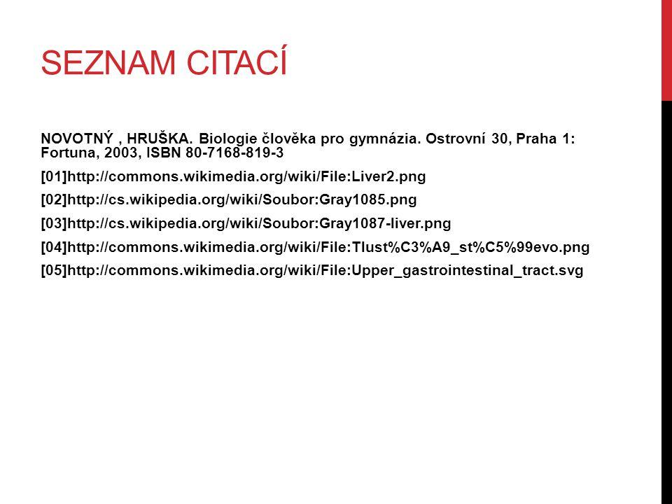 SEZNAM CITACÍ NOVOTNÝ, HRUŠKA. Biologie člověka pro gymnázia. Ostrovní 30, Praha 1: Fortuna, 2003, ISBN 80-7168-819-3 [01]http://commons.wikimedia.org