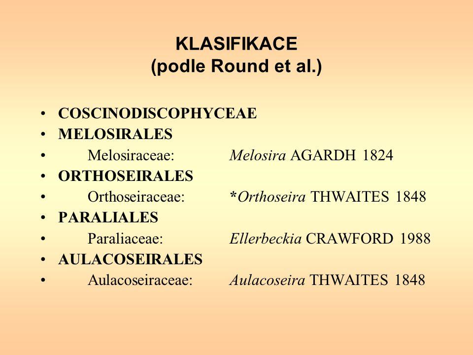 KLASIFIKACE (podle Round et al.) COSCINODISCOPHYCEAE MELOSIRALES Melosiraceae:Melosira AGARDH 1824 ORTHOSEIRALES Orthoseiraceae:*Orthoseira THWAITES 1