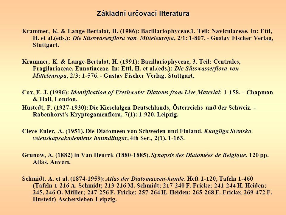 Základní určovací literatura Krammer, K. & Lange ‑ Bertalot, H. (1986): Bacillariophyceae,1. Teil: Naviculaceae. In: Ettl, H. et al.(eds.): Die Süsswa
