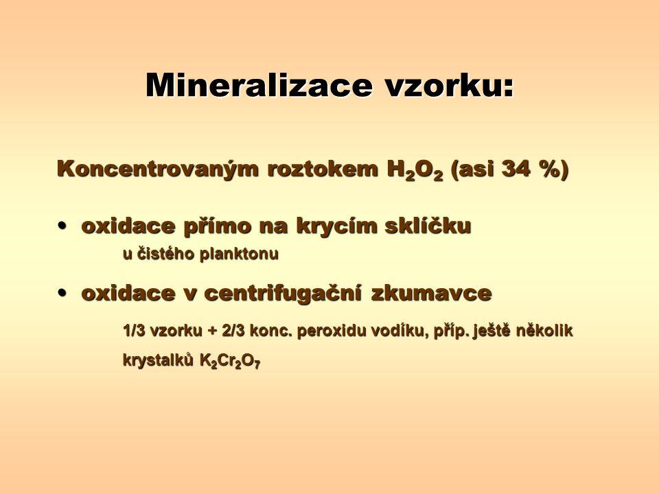 Mineralizace vzorku: Koncentrovaným roztokem H 2 O 2 (asi 34 %) oxidace přímo na krycím sklíčkuoxidace přímo na krycím sklíčku u čistého planktonu oxi