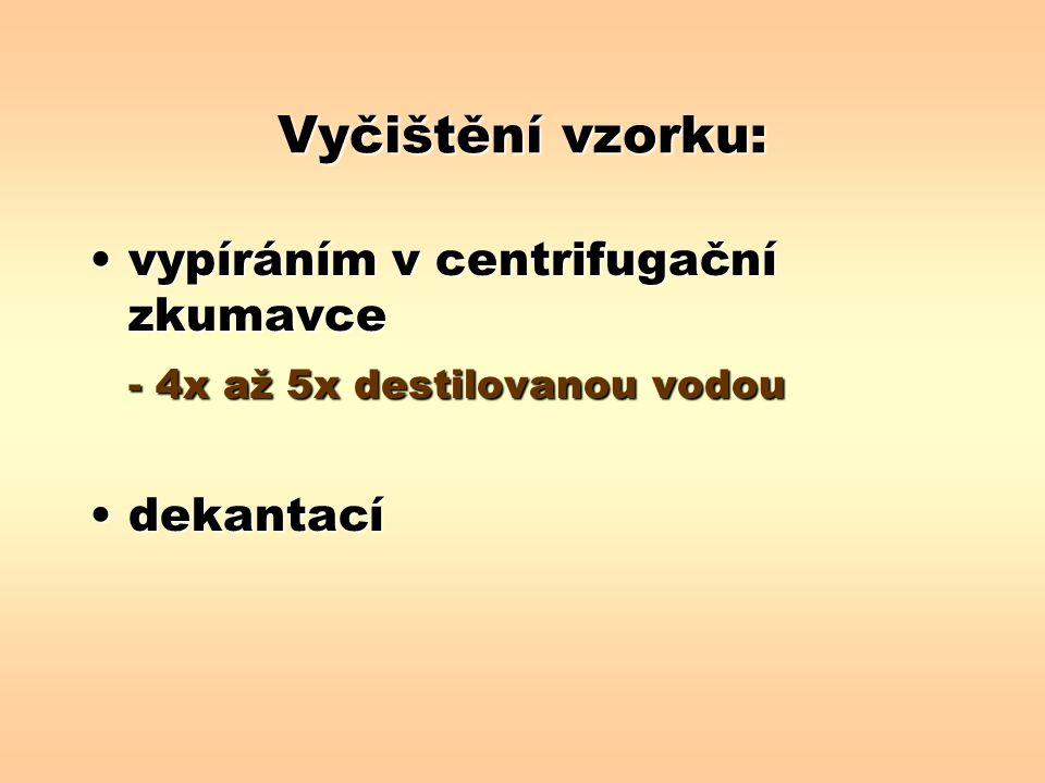 Vyčištění vzorku: vypíráním v centrifugační zkumavcevypíráním v centrifugační zkumavce - 4x až 5x destilovanou vodou dekantacídekantací