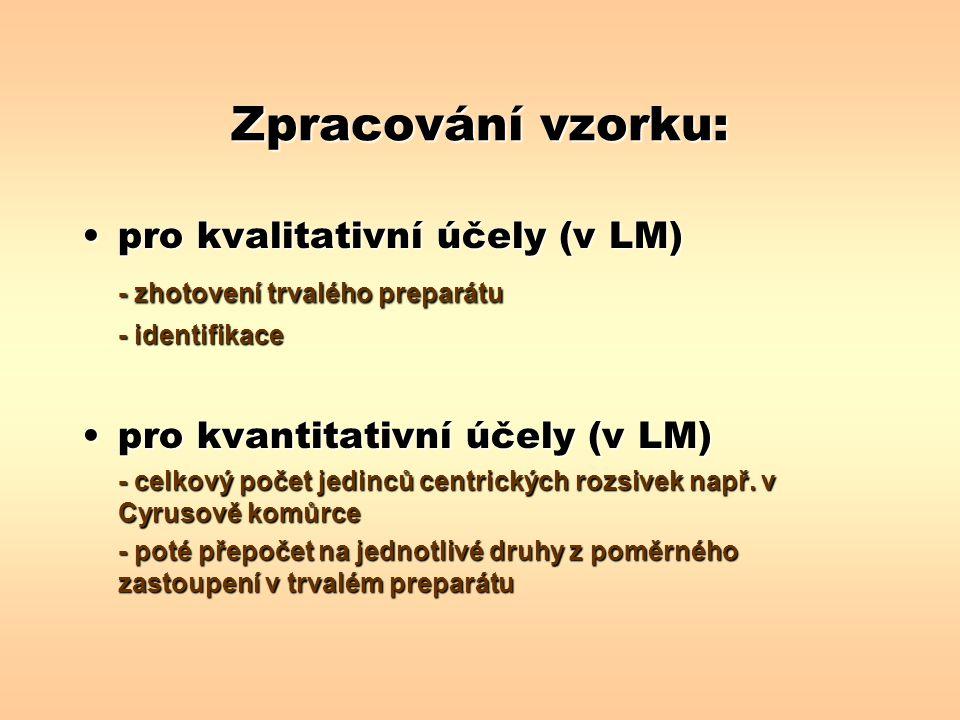 Zpracování vzorku: pro kvalitativní účely (v LM)pro kvalitativní účely (v LM) - zhotovení trvalého preparátu - identifikace pro kvantitativní účely (v