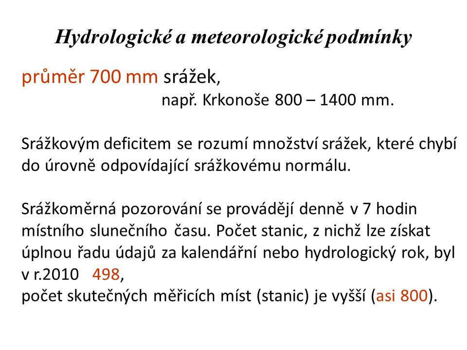 Hydrologické a meteorologické podmínky průměr 700 mm srážek, např. Krkonoše 800 – 1400 mm. Srážkovým deficitem se rozumí množství srážek, které chybí