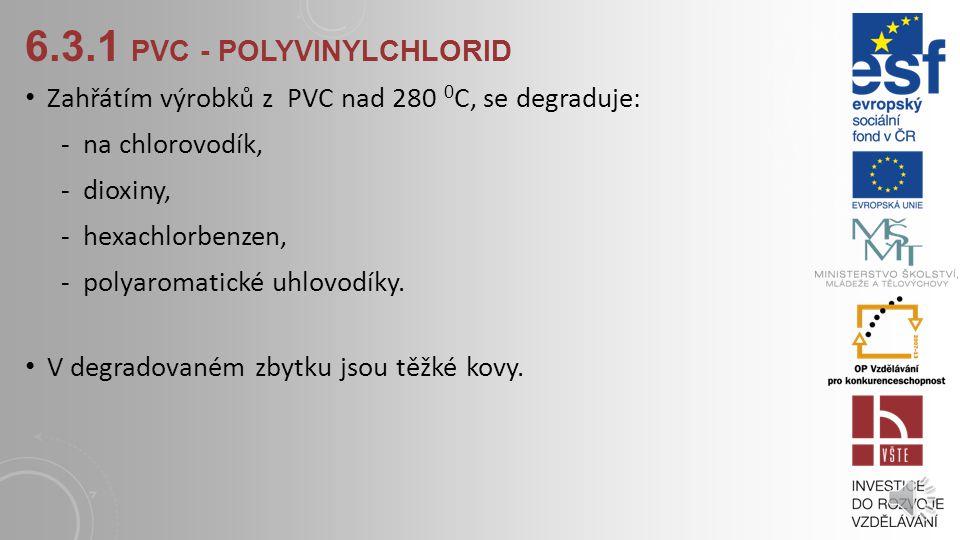 6.3.1 PVC - POLYVINYLCHLORID PVC vzniká řetězením molekul vinylchloridu. Vinylchlorid (molekula) je tvořen: -dvěma atomy uhlíku -třemi atomy vodíku -j