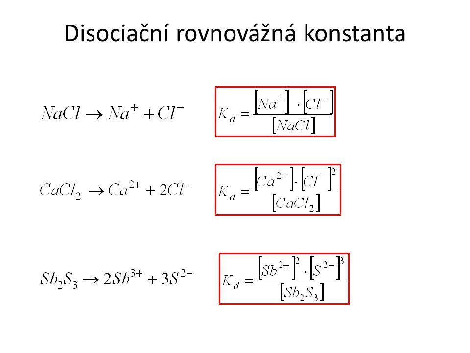 Koncentrace produktů je výrazně menší než výchozích látek, disociací vzniklo málo iontů, roztok je slabý elektrolyt.