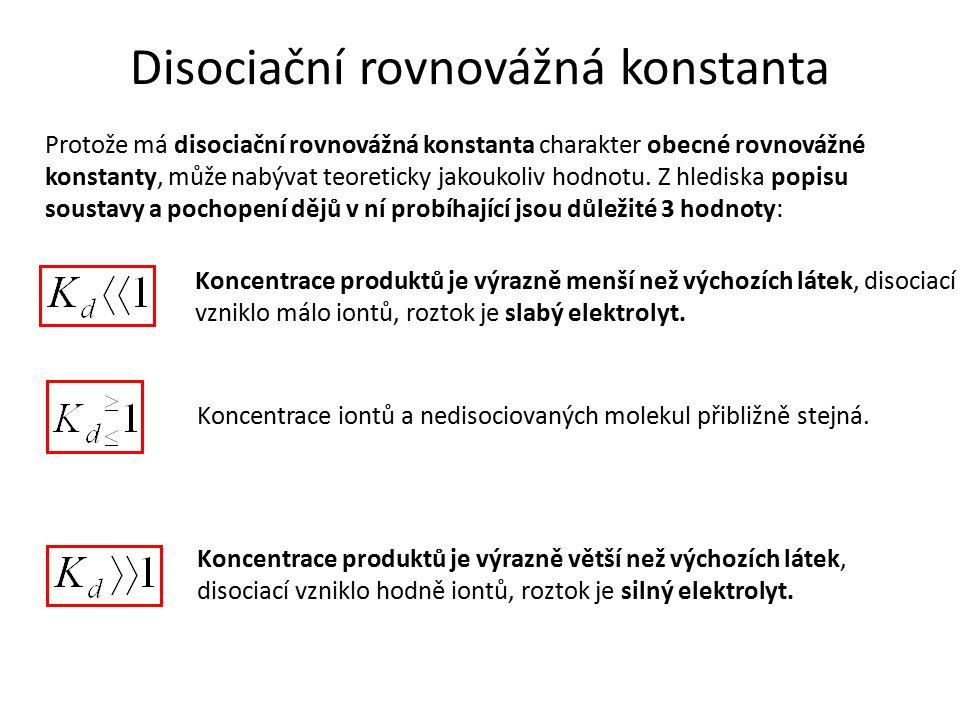 Iontový produkt V případě látek nerozpustných nebo omezeně rozpustných, jejichž K d je výrazně menší než 1 (řádově 10 -4 až 10 -49 ), se k popisu dějů v elektrolytu používá veličina iontový produkt, vztah pro jeho výpočet se nazývá součin rozpustnosti.