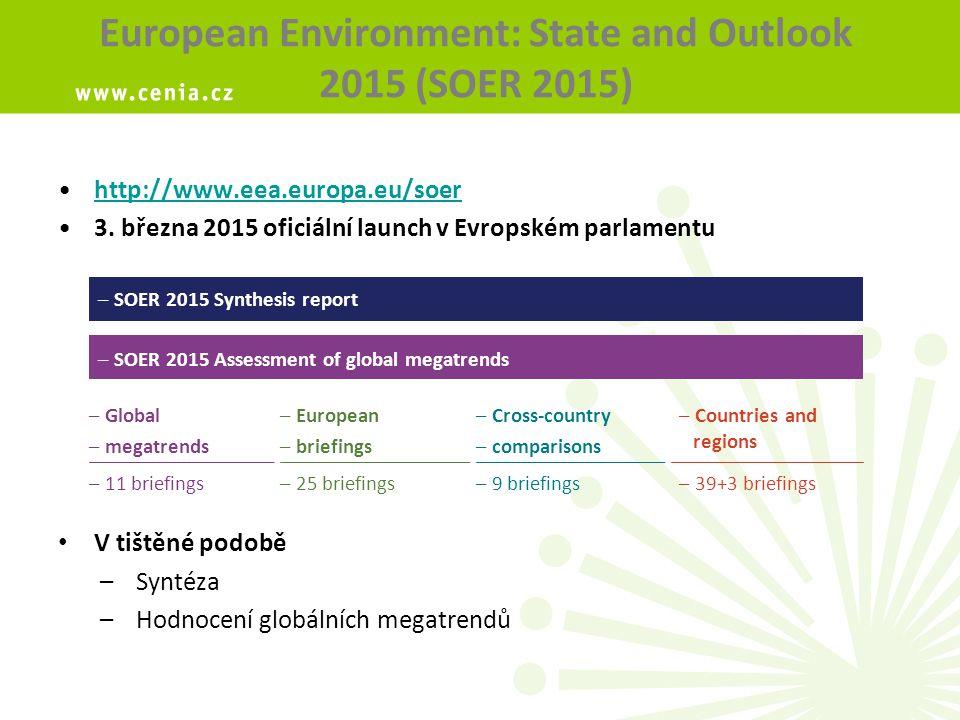 Countries and regions Cíl: Poskytnout přehled a souhrnné informace o stavu životního prostředí v členských zemích EEA a 3 regionech 39 národních příspěvků (33 členských zemí + 6 spolupracujících zemí) 3 regionální příspěvky: Černomořský, Arktický a Středomořský Publikováno online, s odkazy na relevantní literaturu, data, indikátory a SERIS (State of Environment Reporting Information System, EEA) http://www.eea.europa.eu/soer#tab-regions-countries