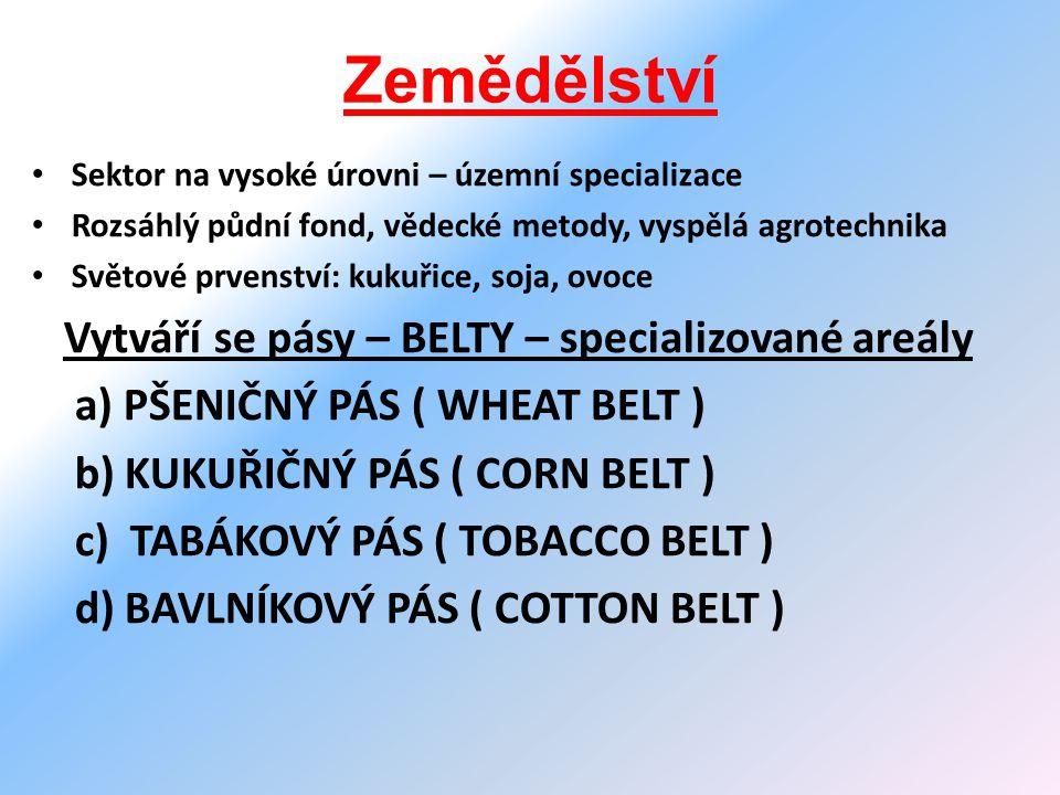 Zemědělství Sektor na vysoké úrovni – územní specializace Rozsáhlý půdní fond, vědecké metody, vyspělá agrotechnika Světové prvenství: kukuřice, soja, ovoce Vytváří se pásy – BELTY – specializované areály a) PŠENIČNÝ PÁS ( WHEAT BELT ) b) KUKUŘIČNÝ PÁS ( CORN BELT ) c) TABÁKOVÝ PÁS ( TOBACCO BELT ) d) BAVLNÍKOVÝ PÁS ( COTTON BELT )