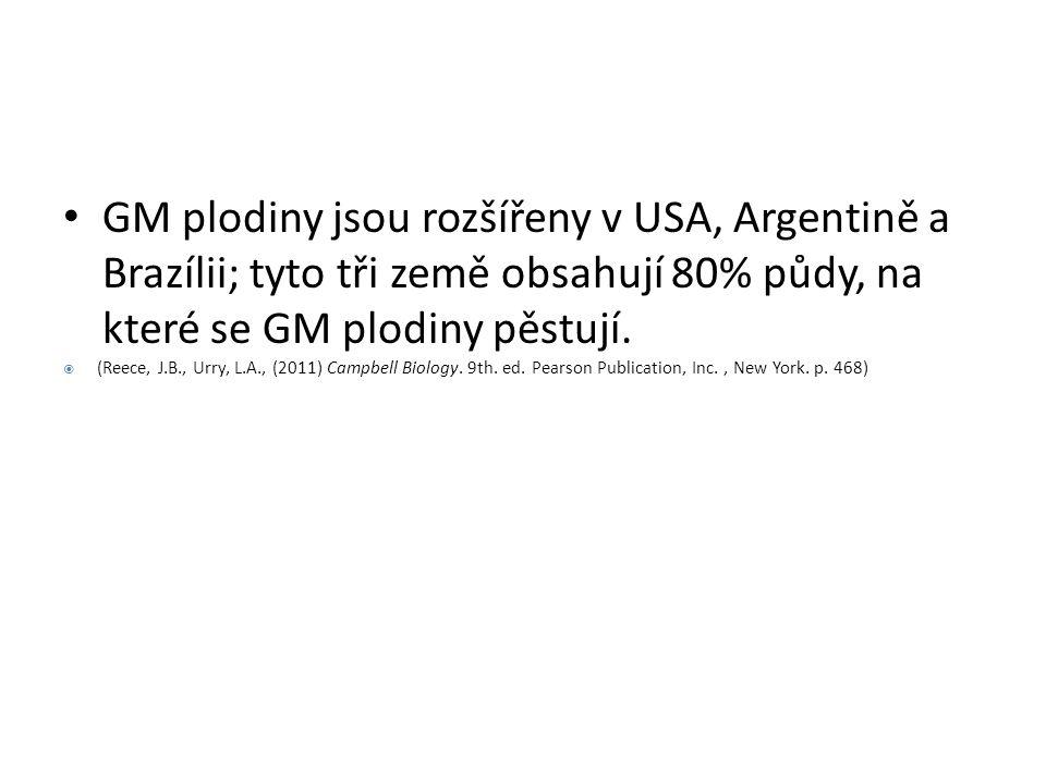 GM plodiny jsou rozšířeny v USA, Argentině a Brazílii; tyto tři země obsahují 80% půdy, na které se GM plodiny pěstují.  (Reece, J.B., Urry, L.A., (2