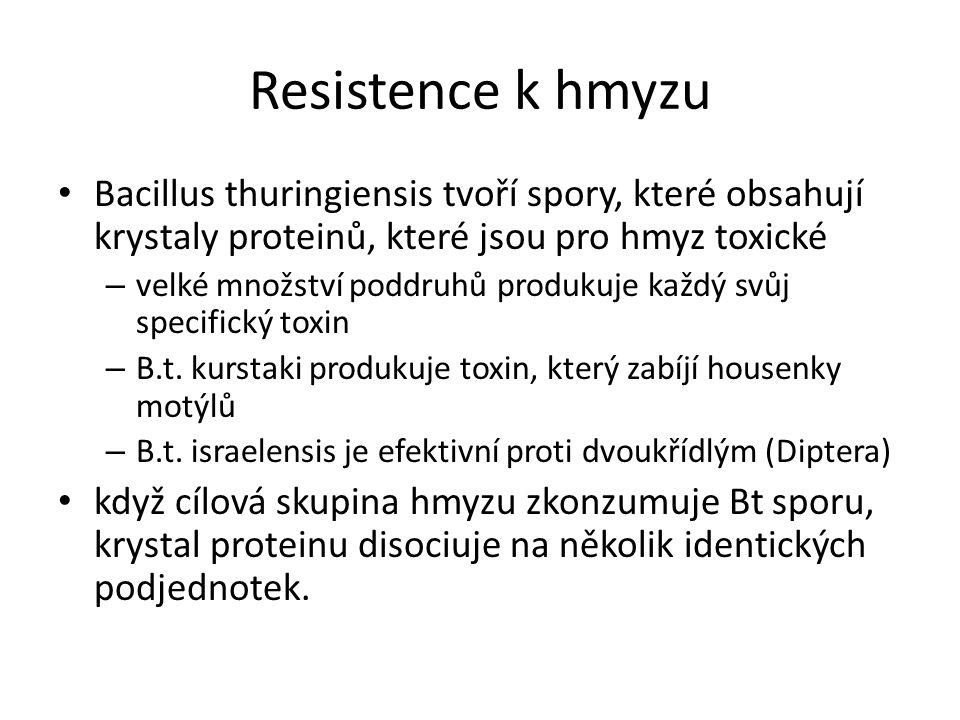 Resistence k hmyzu Bacillus thuringiensis tvoří spory, které obsahují krystaly proteinů, které jsou pro hmyz toxické – velké množství poddruhů produkuje každý svůj specifický toxin – B.t.