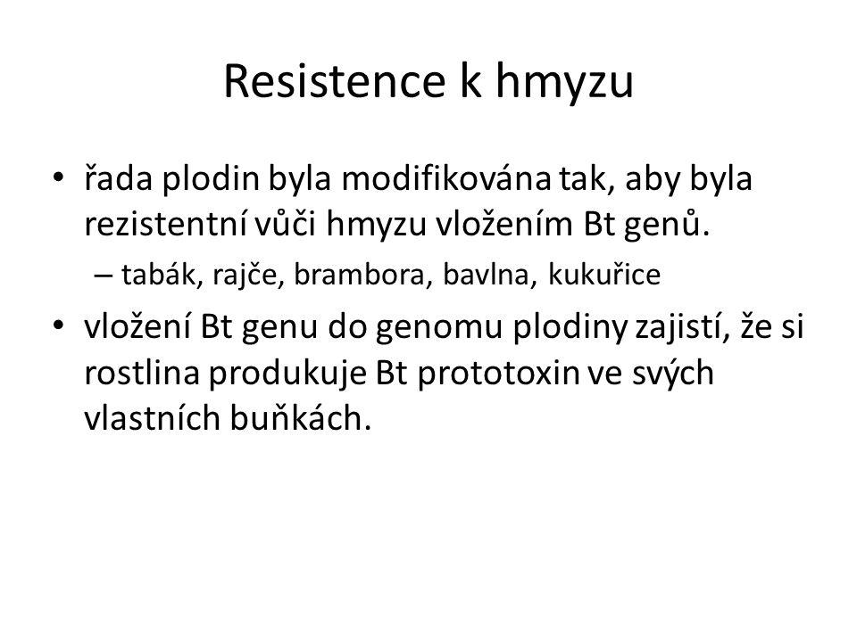 Resistence k hmyzu řada plodin byla modifikována tak, aby byla rezistentní vůči hmyzu vložením Bt genů.