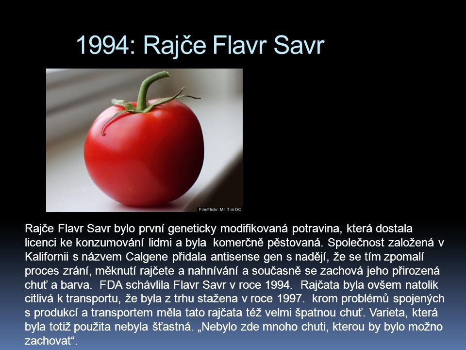 1994: Rajče Flavr Savr Rajče Flavr Savr bylo první geneticky modifikovaná potravina, která dostala licenci ke konzumování lidmi a byla komerčně pěstovaná.
