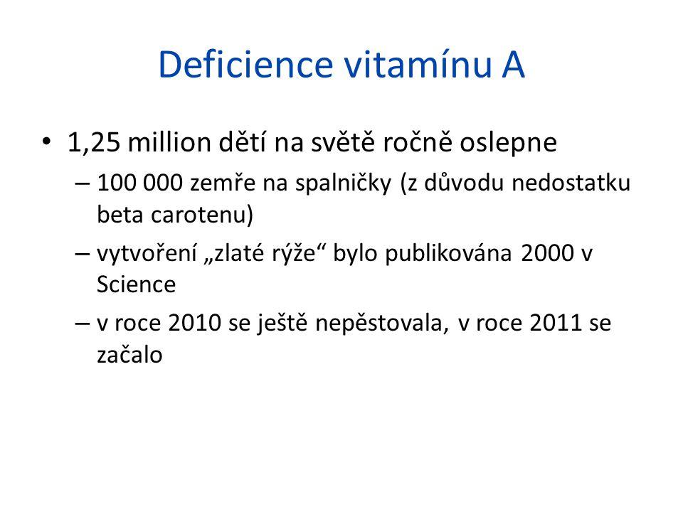 """Deficience vitamínu A 1,25 million dětí na světě ročně oslepne – 100 000 zemře na spalničky (z důvodu nedostatku beta carotenu) – vytvoření """"zlaté rýže bylo publikována 2000 v Science – v roce 2010 se ještě nepěstovala, v roce 2011 se začalo"""