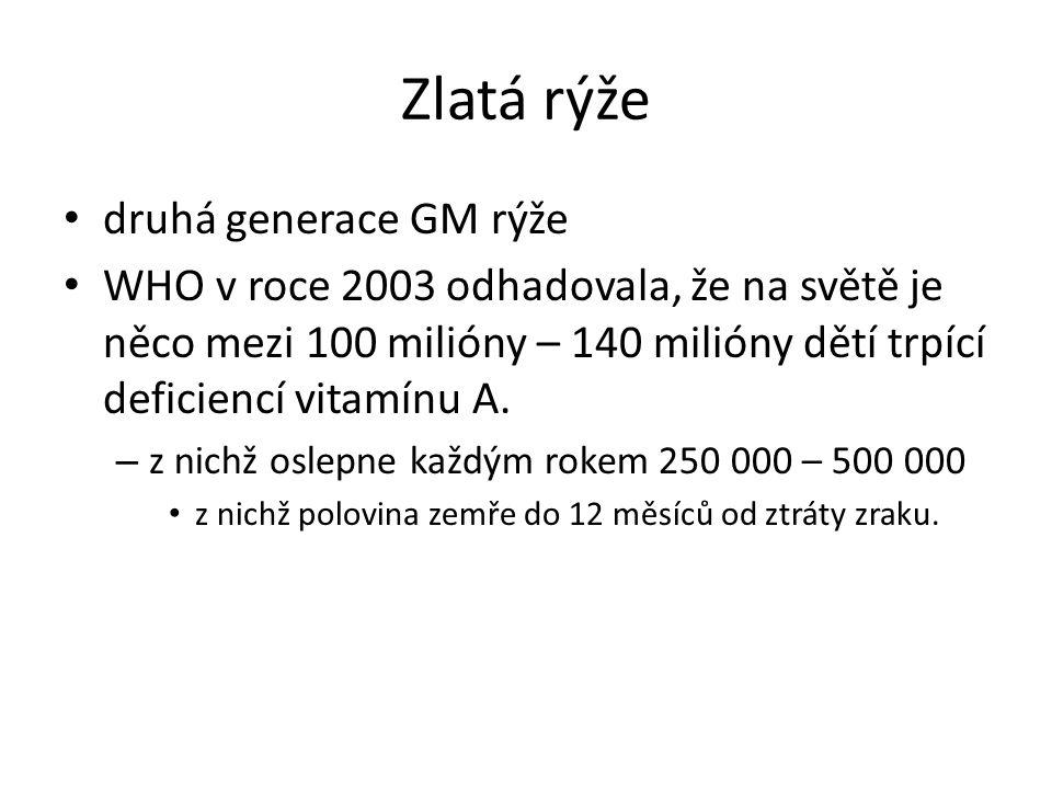 Zlatá rýže druhá generace GM rýže WHO v roce 2003 odhadovala, že na světě je něco mezi 100 milióny – 140 milióny dětí trpící deficiencí vitamínu A.