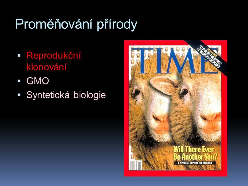 Proměňování přírody  Reprodukční klonování  GMO  Syntetická biologie