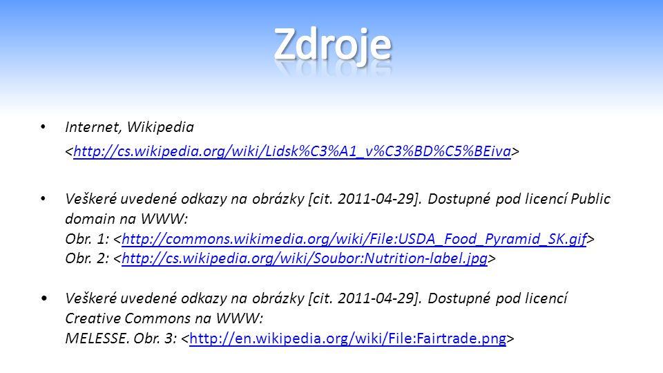 Internet, Wikipedia http://cs.wikipedia.org/wiki/Lidsk%C3%A1_v%C3%BD%C5%BEiva Veškeré uvedené odkazy na obrázky [cit.