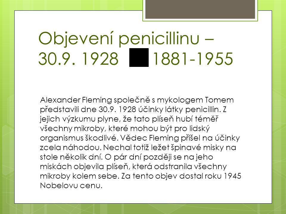 Otázky 1.Kdo objevil penicillin. 2. Jmenujte alespoň dva průmysly, ve kterých se plíseň využívá.