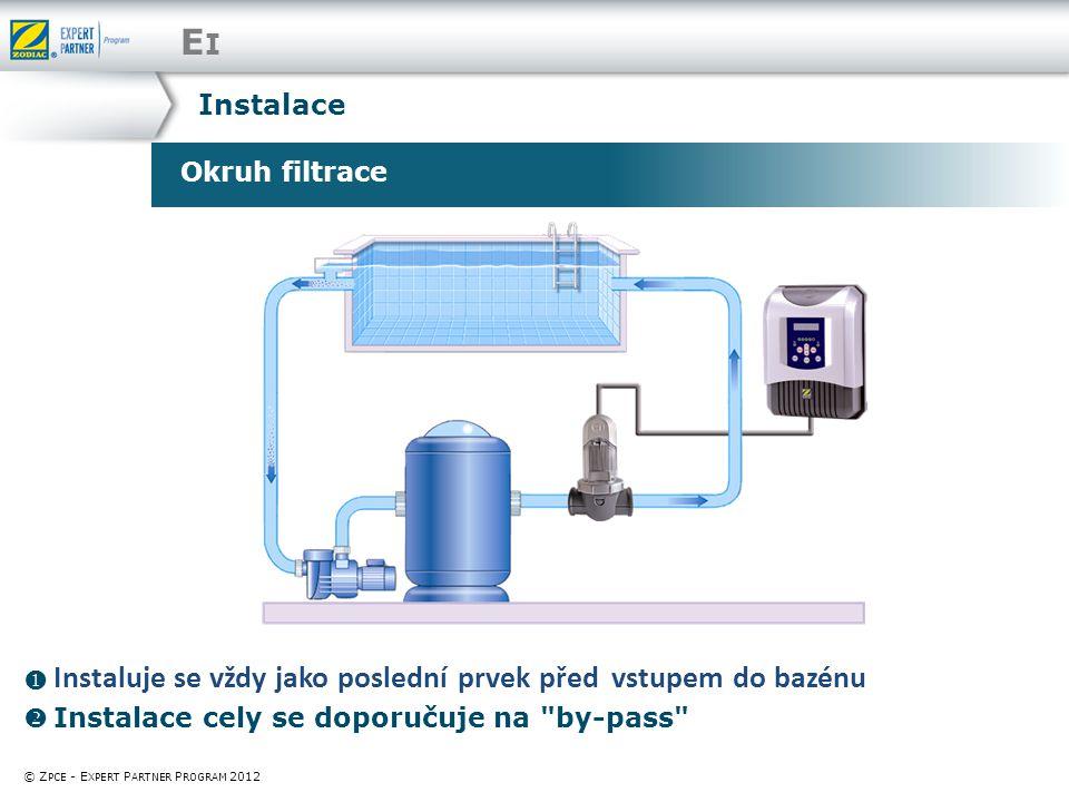 EIEI Okruh filtrace © Z PCE - E XPERT P ARTNER P ROGRAM 2012  Instaluje se vždy jako poslední prvek před vstupem do bazénu  Instalace cely se doporučuje na by-pass Instalace